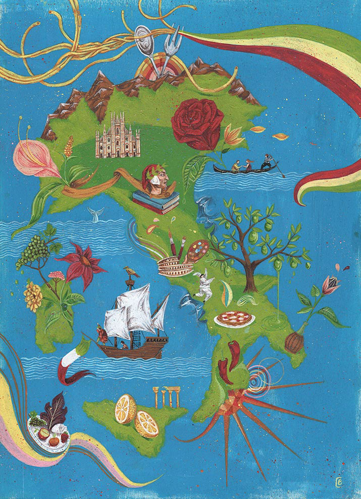 Carmine bellucci artist and illustrator map of italy map of italy and its cultural heritage gumiabroncs Gallery