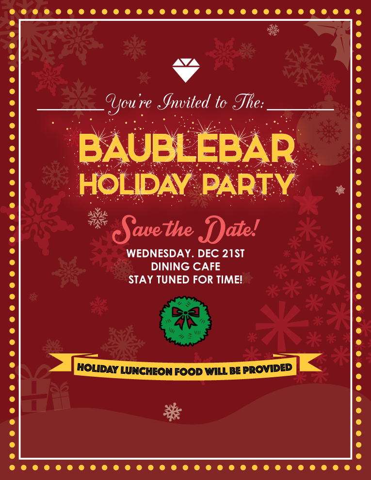 mindy leung graphic design baublebar holiday party flier