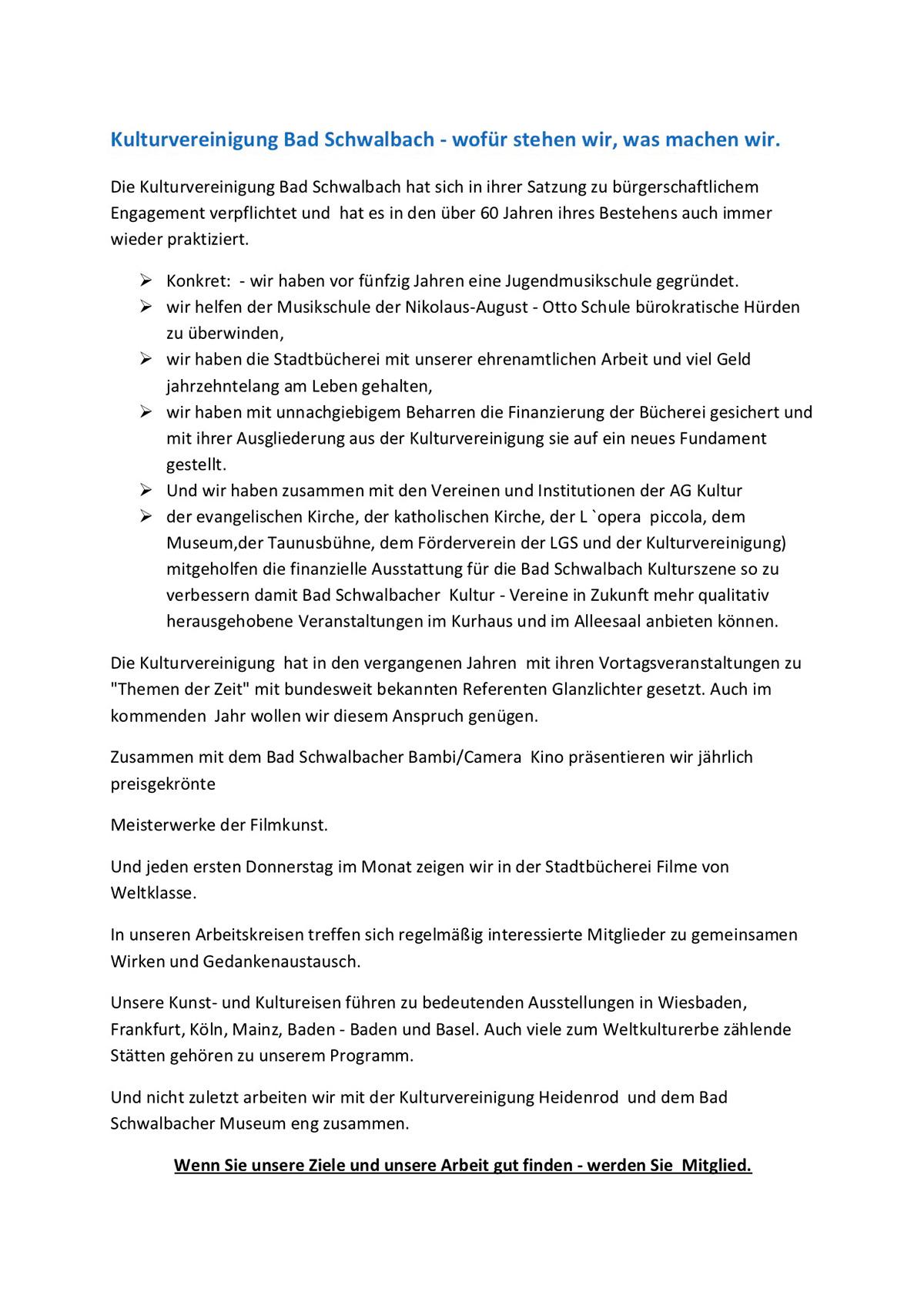 Kulturvereinigung Bad Schwalbach Ev Kleine Geschichte Der