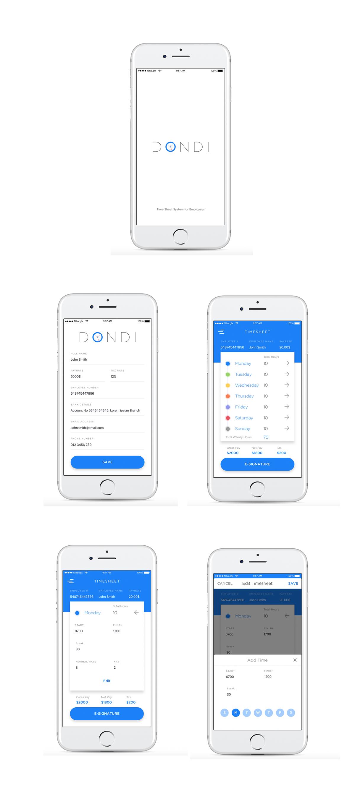 nihal hassan ui ux designer dondi timesheet app concept