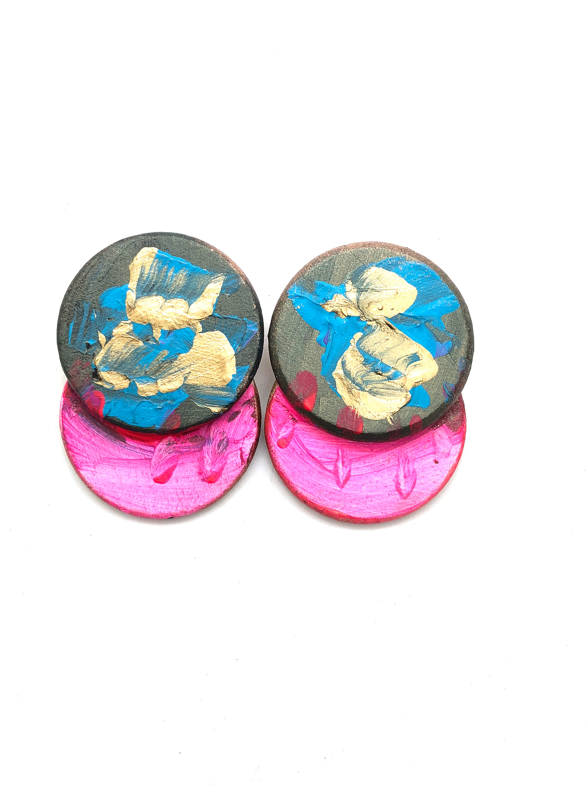 disk for jewelry turquoise two painted hand earrings product min joy