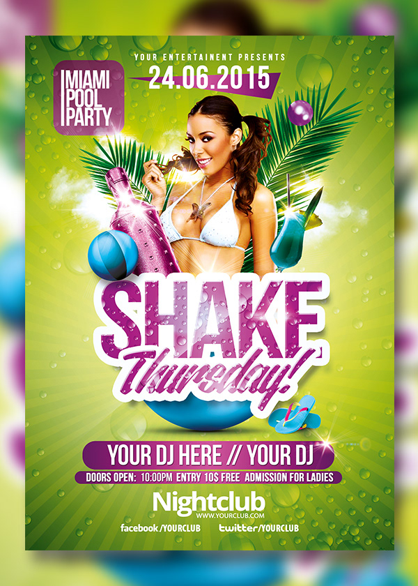 rome creation summer pool party flyer templates