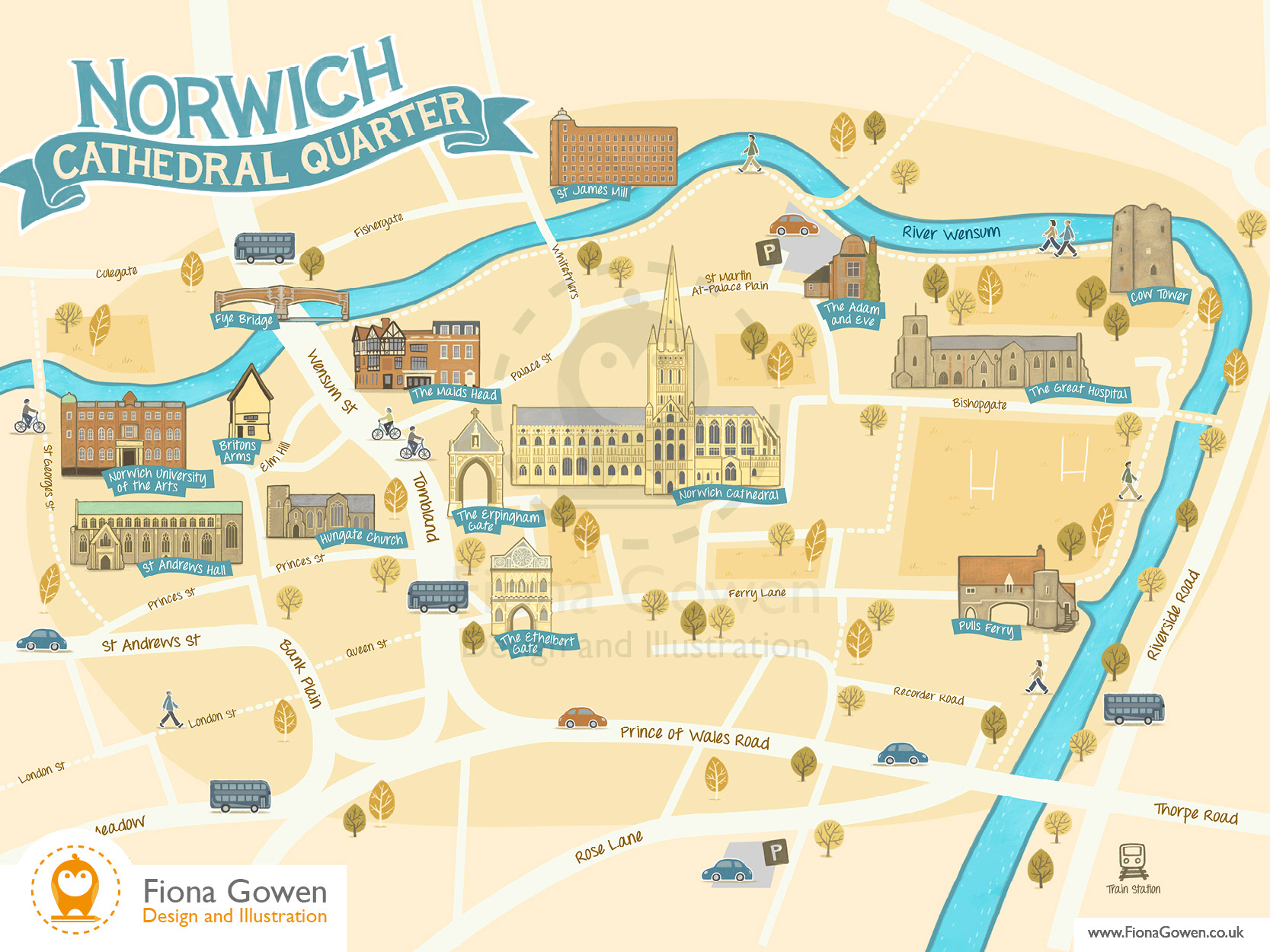 Map Of Norwich Fiona Gowen   Norwich Cathedral Quarter Map Map Of Norwich