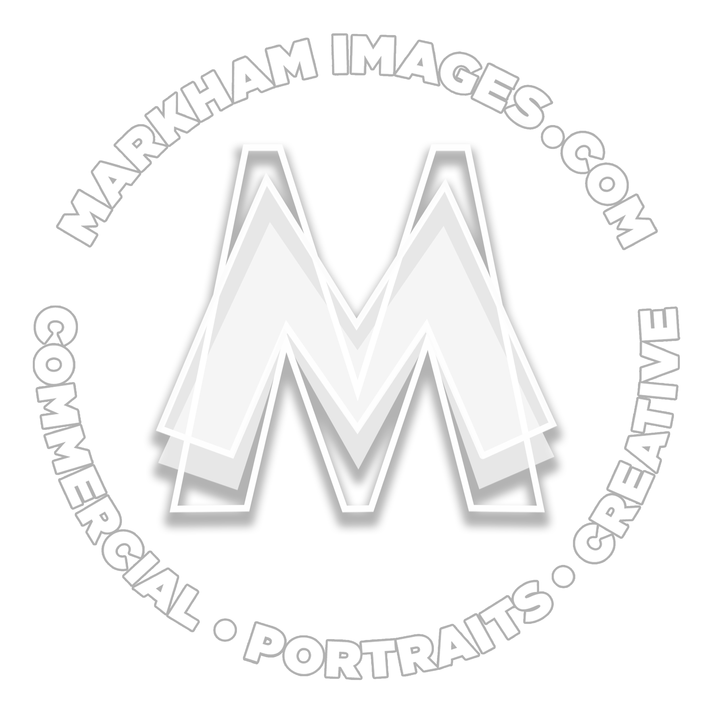 The logo for Markham Images is a three-layer M symbol in white surrounded by bold white text in a circular formation, with the website address detailed at the top, and the three words describing the services at the bottom, being commercial, portraits, and creative. In the background a full colour spectrum wheel emanates from the centre point out to the edges of the logo container. The Markham Images logo is a working trademark for M Visions Au Pty Ltd ABN 77 091 248 663, since 2010. A no-background version of the three-layer M symbol surrounded by bold white text is also used as a copyright watermark displayed on copyright photographs of photographer Markham Lane.