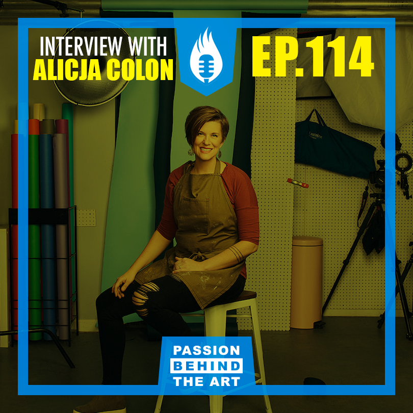 Passion Behind the Art show Cover image of episode 114. Interview with alicja colon of thrice studio.