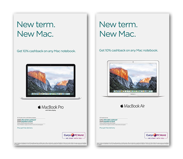 604db021c9f Advertising for latest Apple Mac product range, incorporating the lastest  Apple marketing guidelines. Currys/PC World ...