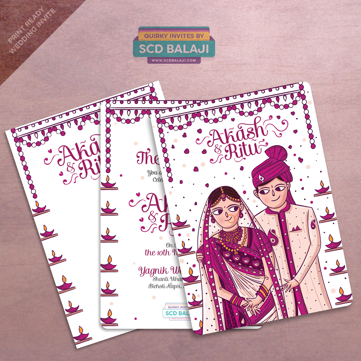 Quirky creative indian wedding invitations gujarati wedding quirky creative indian wedding invitations gujarati wedding invitation card illustration design stopboris Choice Image