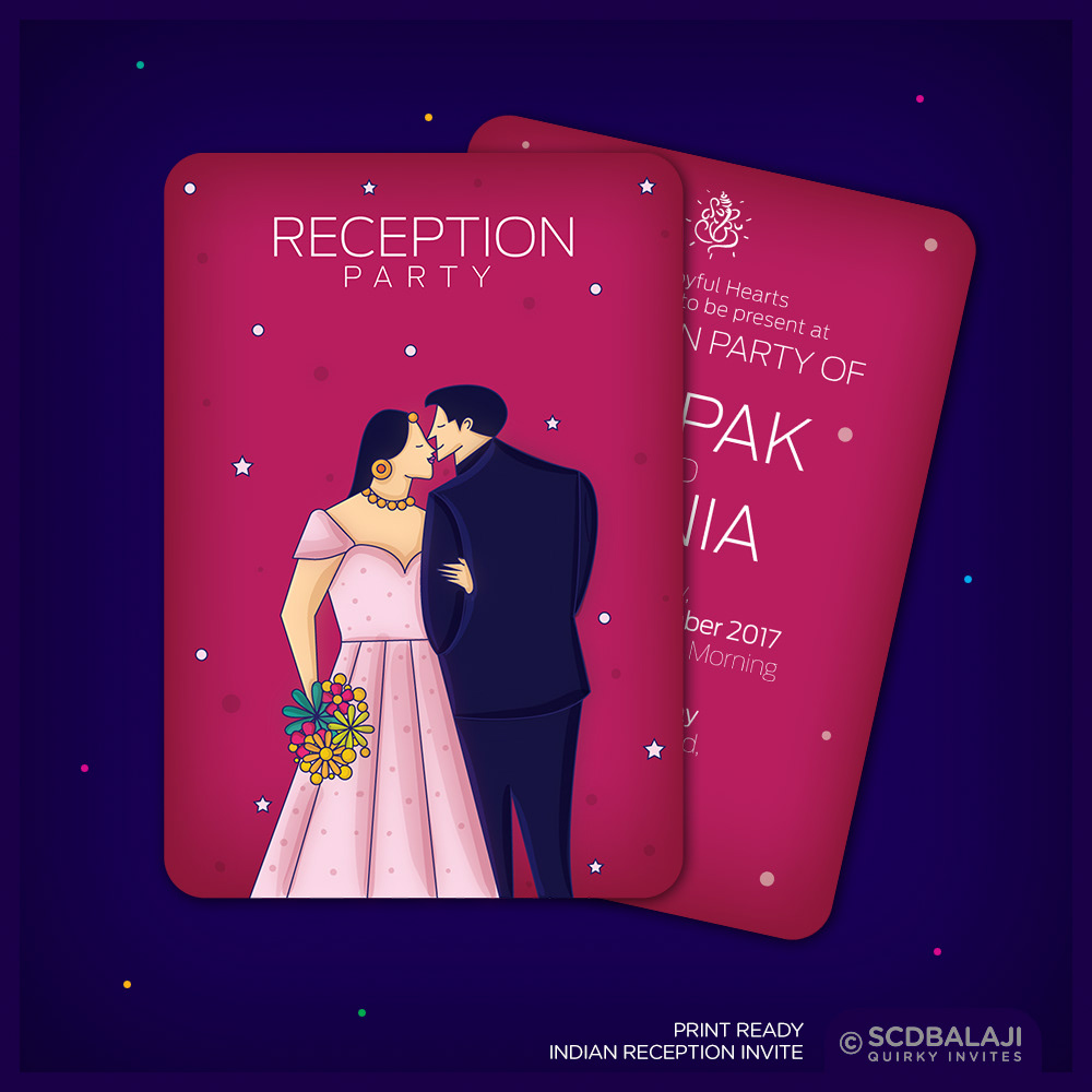 Scd balaji quirky creative indian wedding invitations indian wedding invite size a5 front back card card cover gsm 300 cover card lamination glossy lamination rs 60 per card rs 20 per cover stopboris Images