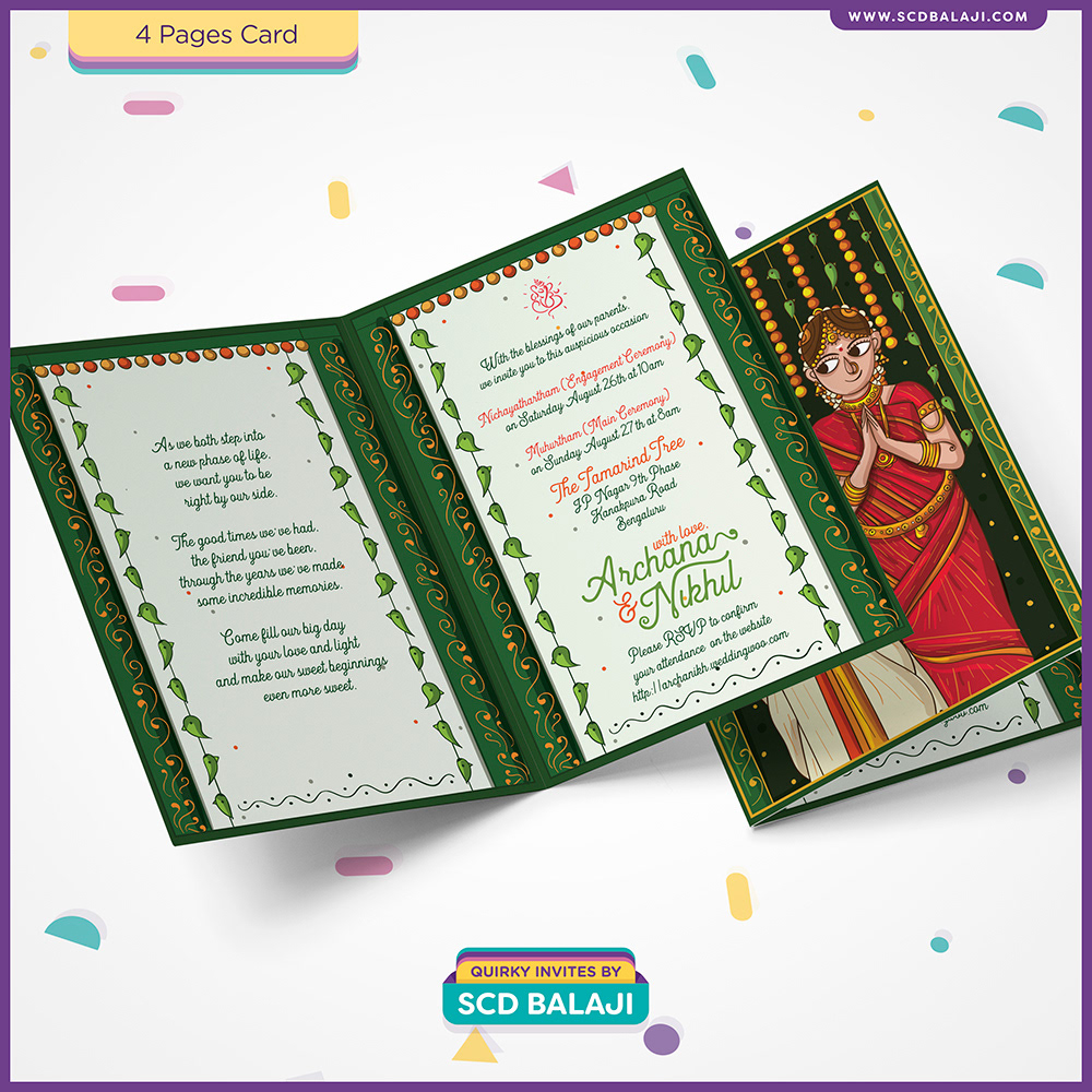 Quirky Indian Wedding Invitations Contemporary Tamil