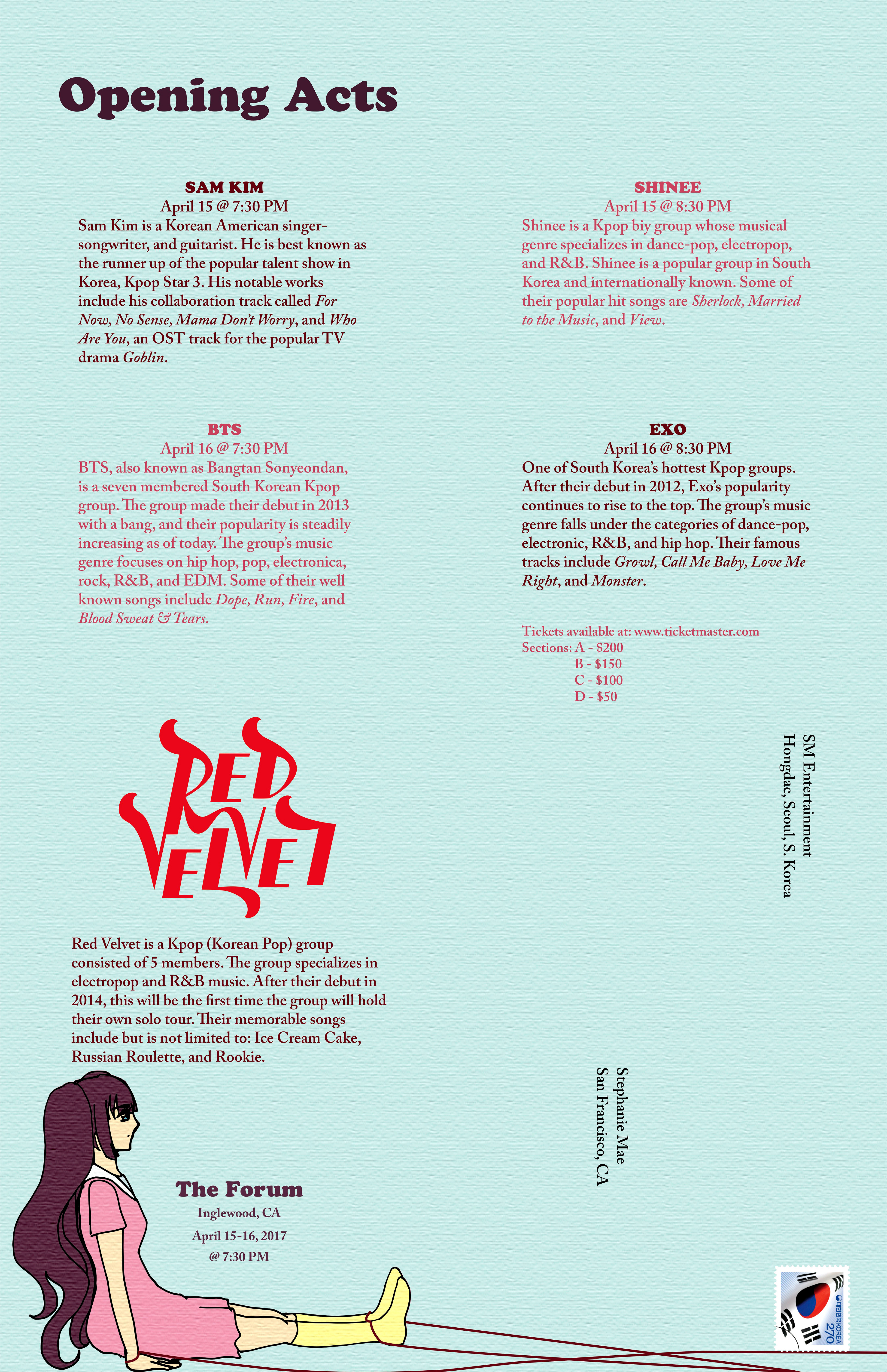 Leah Angcla - logo lettering and poster: red velvet