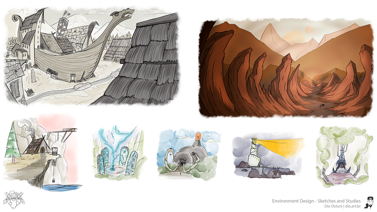 Beers, Beards and a Whale - Environment Design - Sketches and Studies