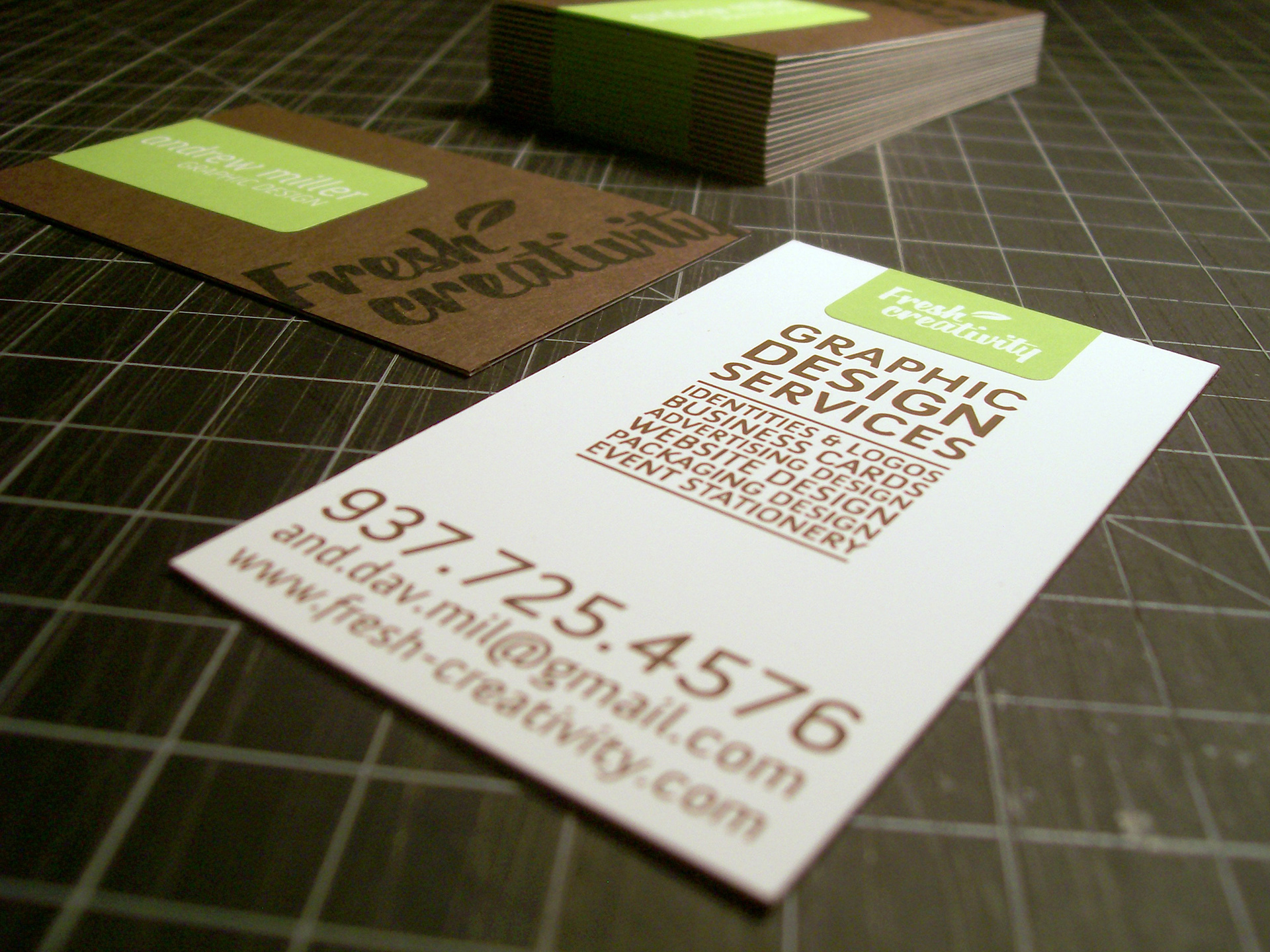 Andrew Miller Graphic Designer - Self promotional business cards