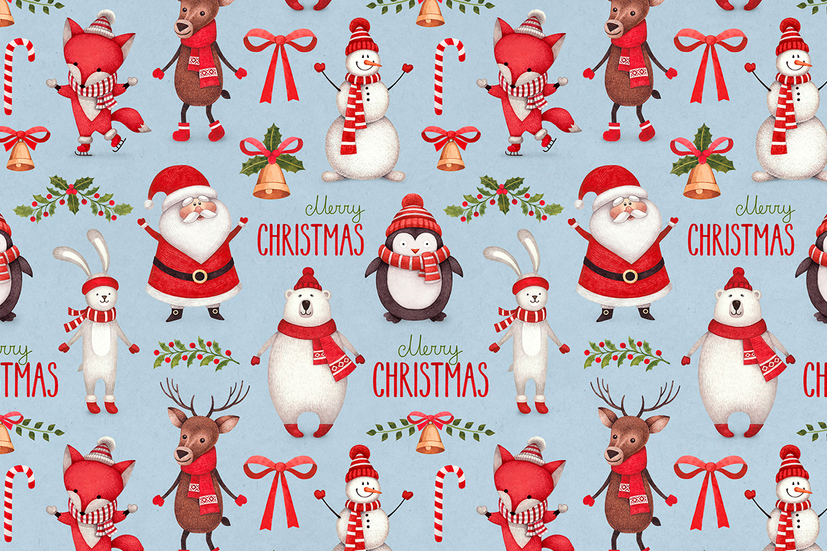 Christmas Illustrations.Sundra Art Cute Christmas Illustrations