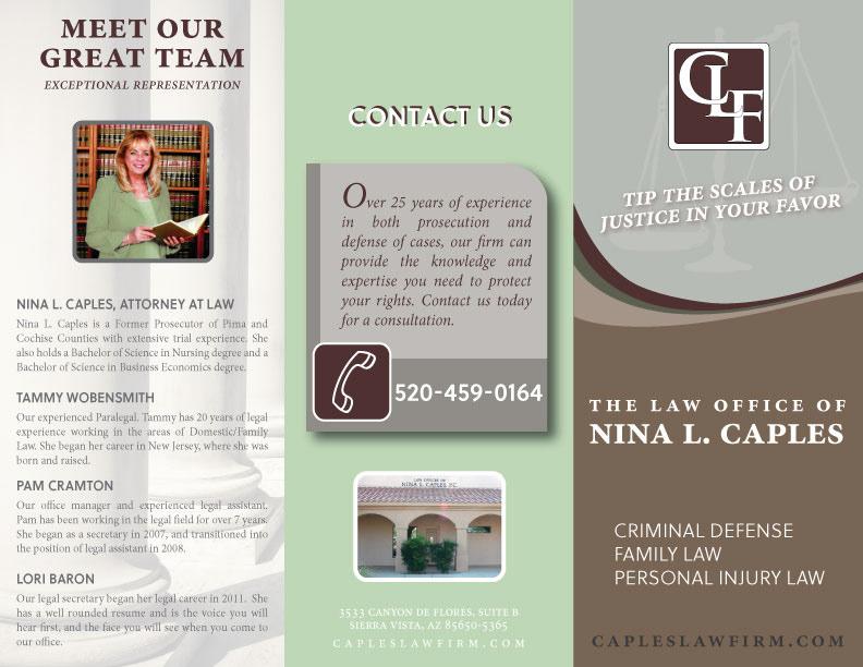 carolina stosius tri fold brochure for nina caples law firm