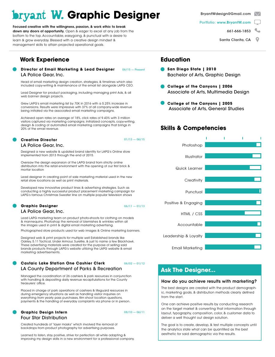 Bryant W Graphic Design Portfolio Resume