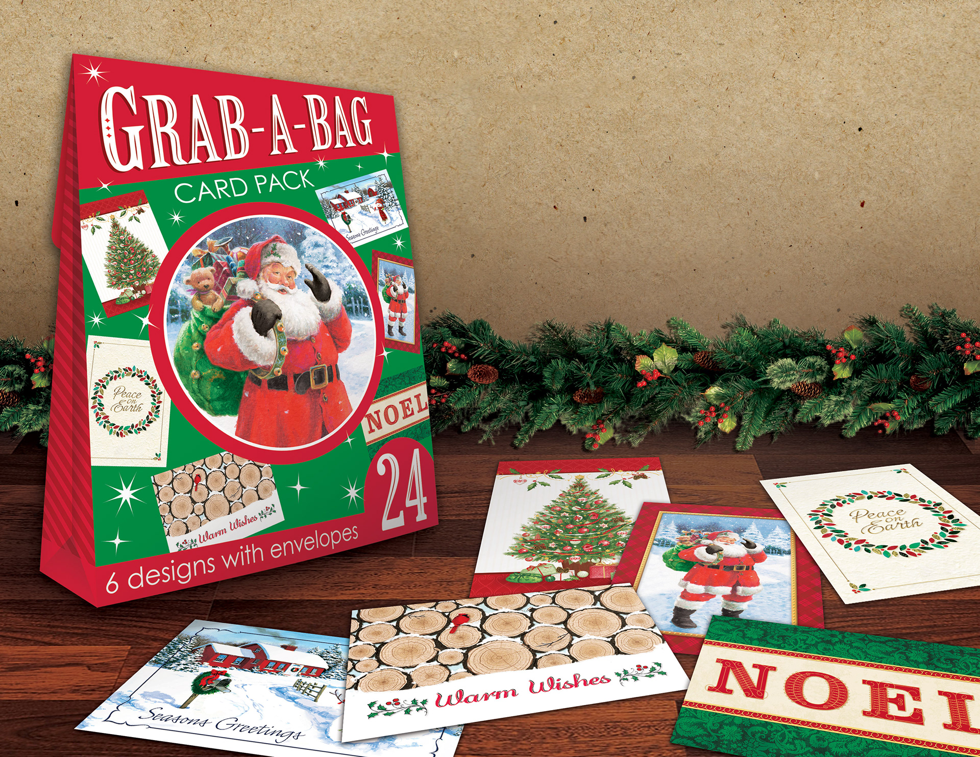 rendering of the grab a bag christmas card pack this product was developed specifically for dollar general under my art direction my team created four