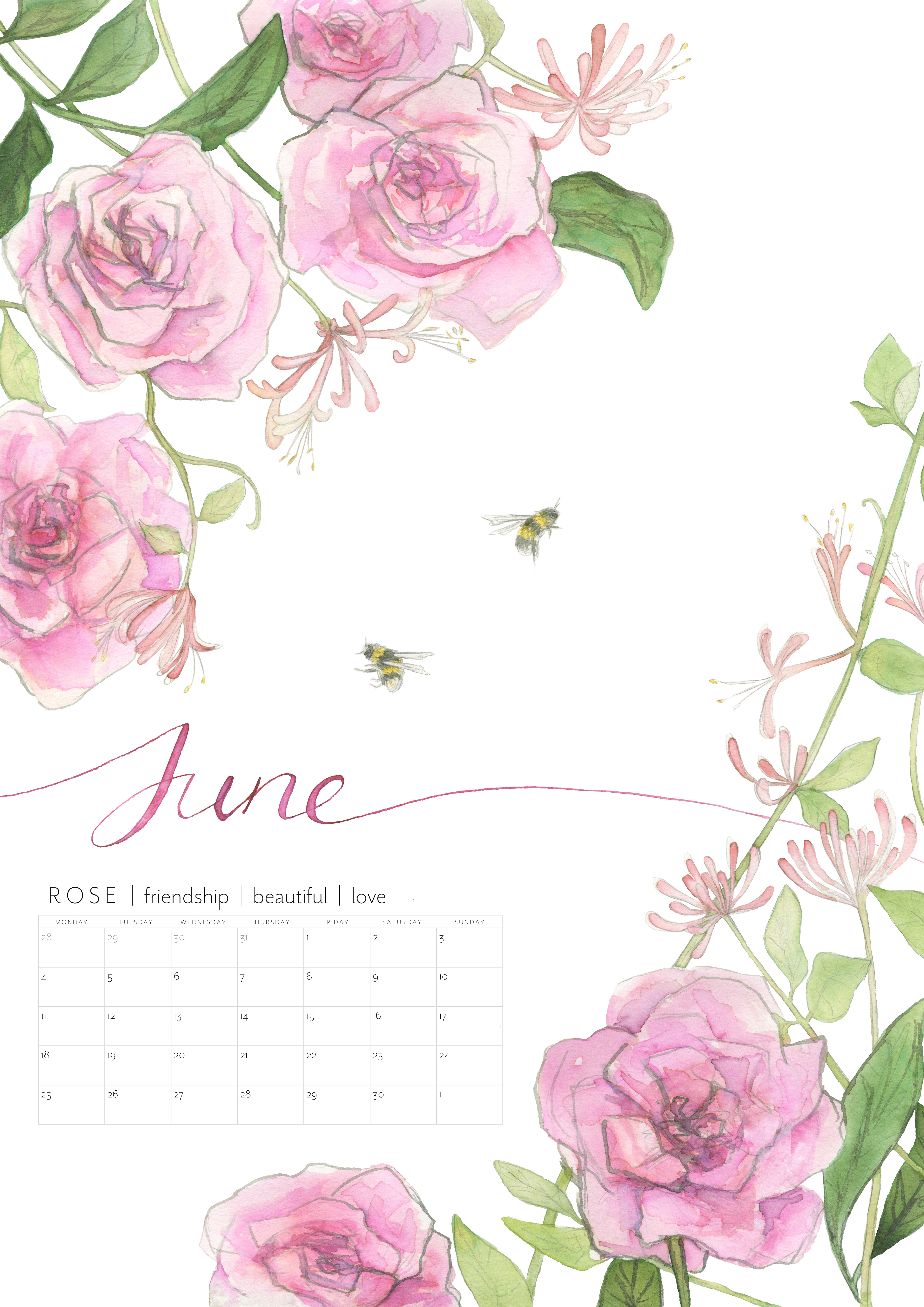 Christie illustration birth flowers wall calendar design for 2018 featuring the british birth flowers of each month and the meaning of the flower izmirmasajfo