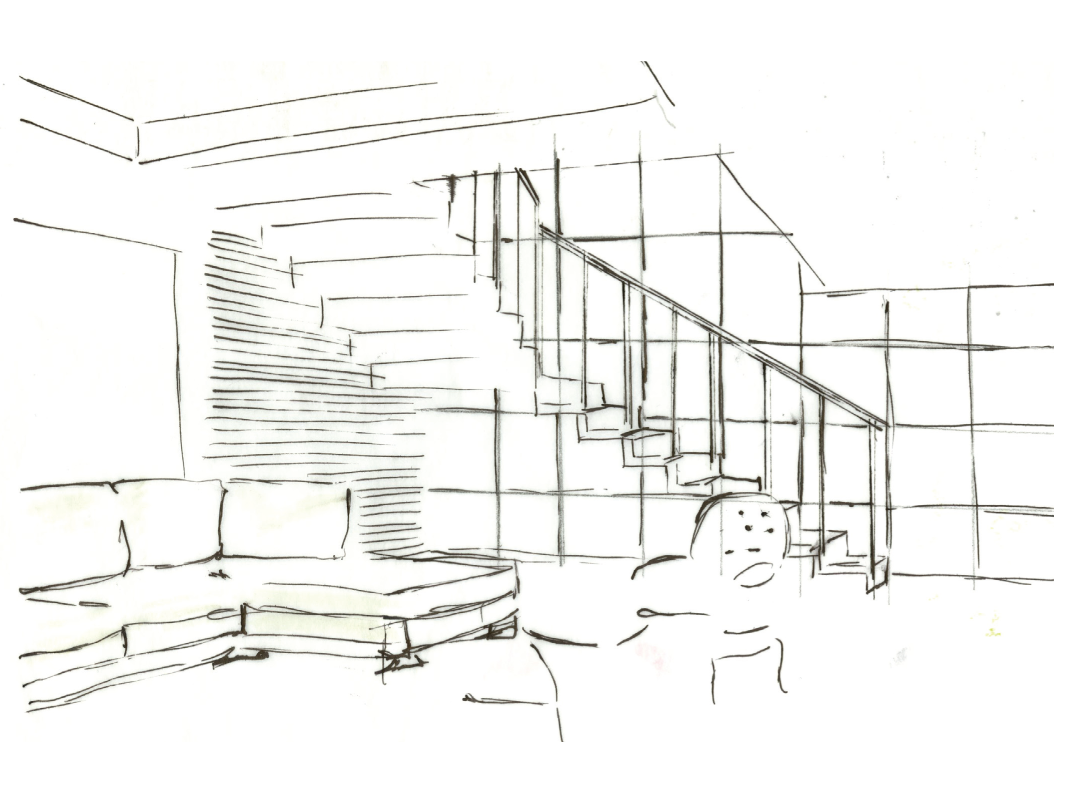 Early design sketches of the view through the front entry walk way and the living area in the main house