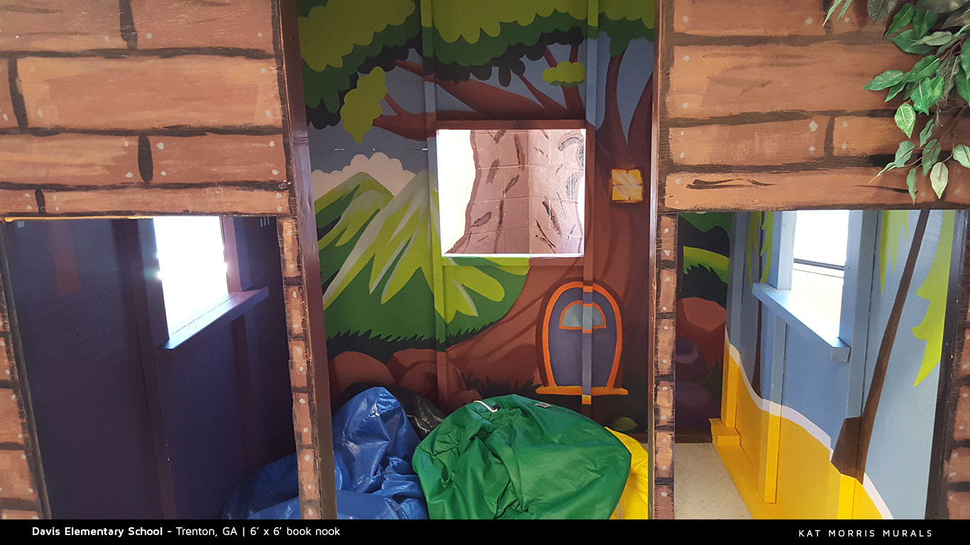 kat morris murals best chattanooga mural painter media center murals the second project for davis elementary school was to create a book nook mural my idea was to put a different kind of scene on each