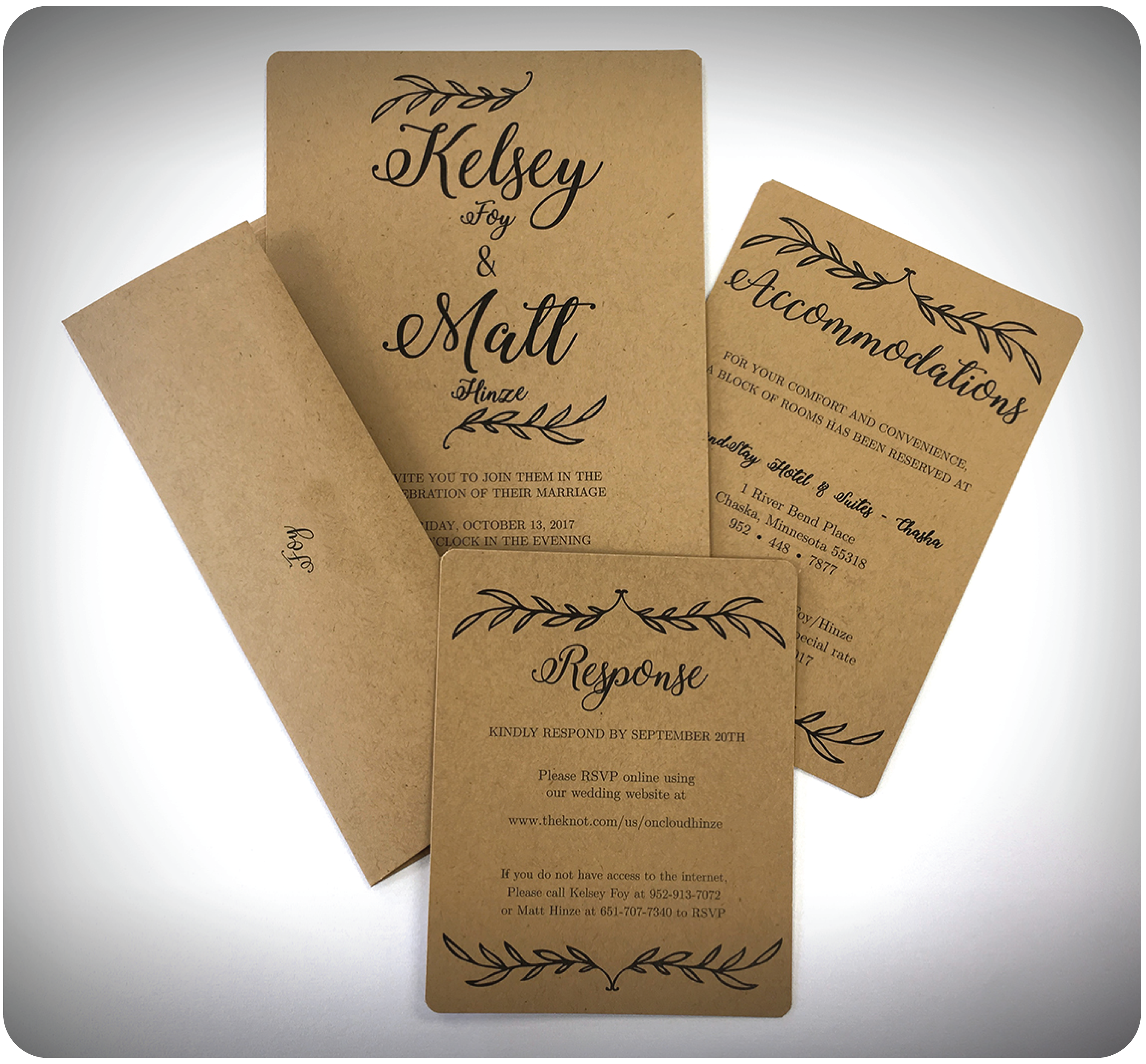Tops copy print solutions print shop kelsey matt to soften the look of their invites kelsey chose to round the corners and add an oval doily for a polished look stopboris Gallery