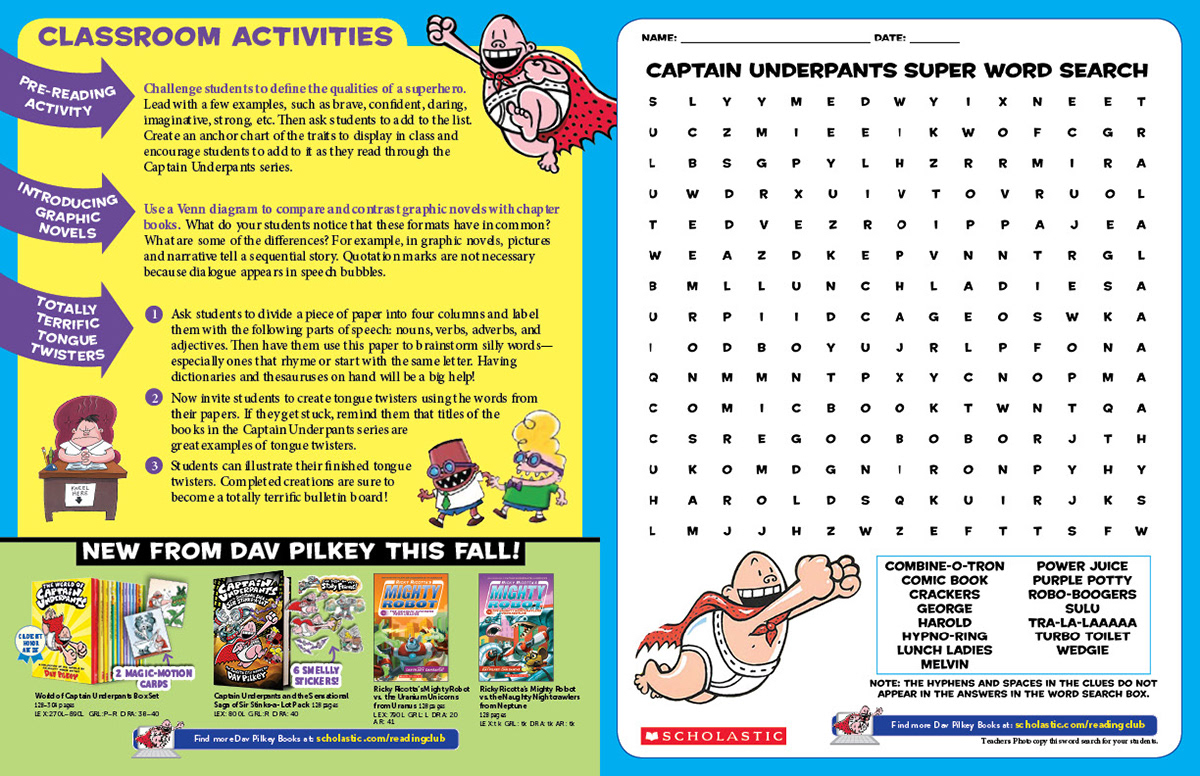 Judy Vasseur - Captain Underpants Teacher Guide with Poster