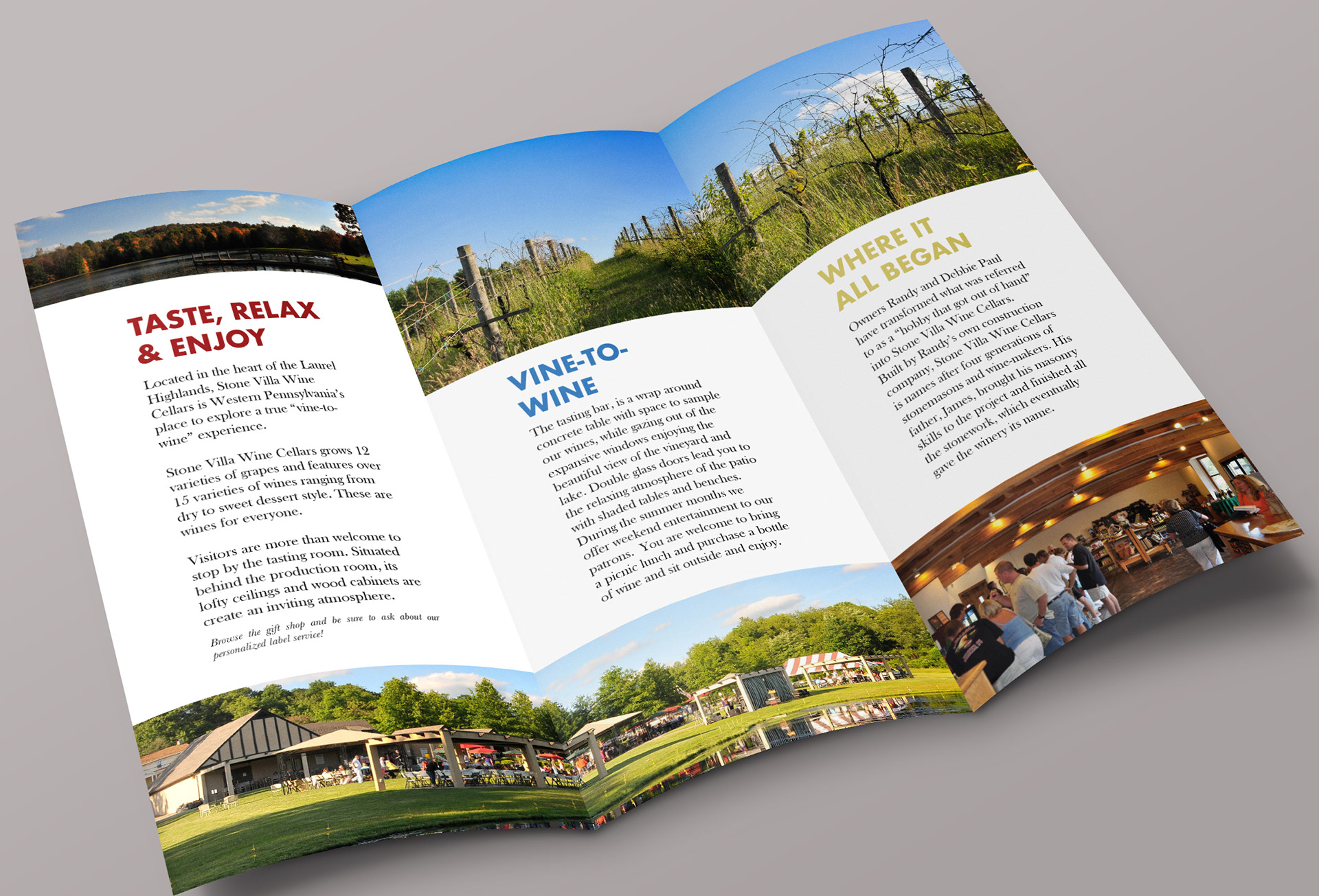 stone villa wine cellars logo and brochure redesign
