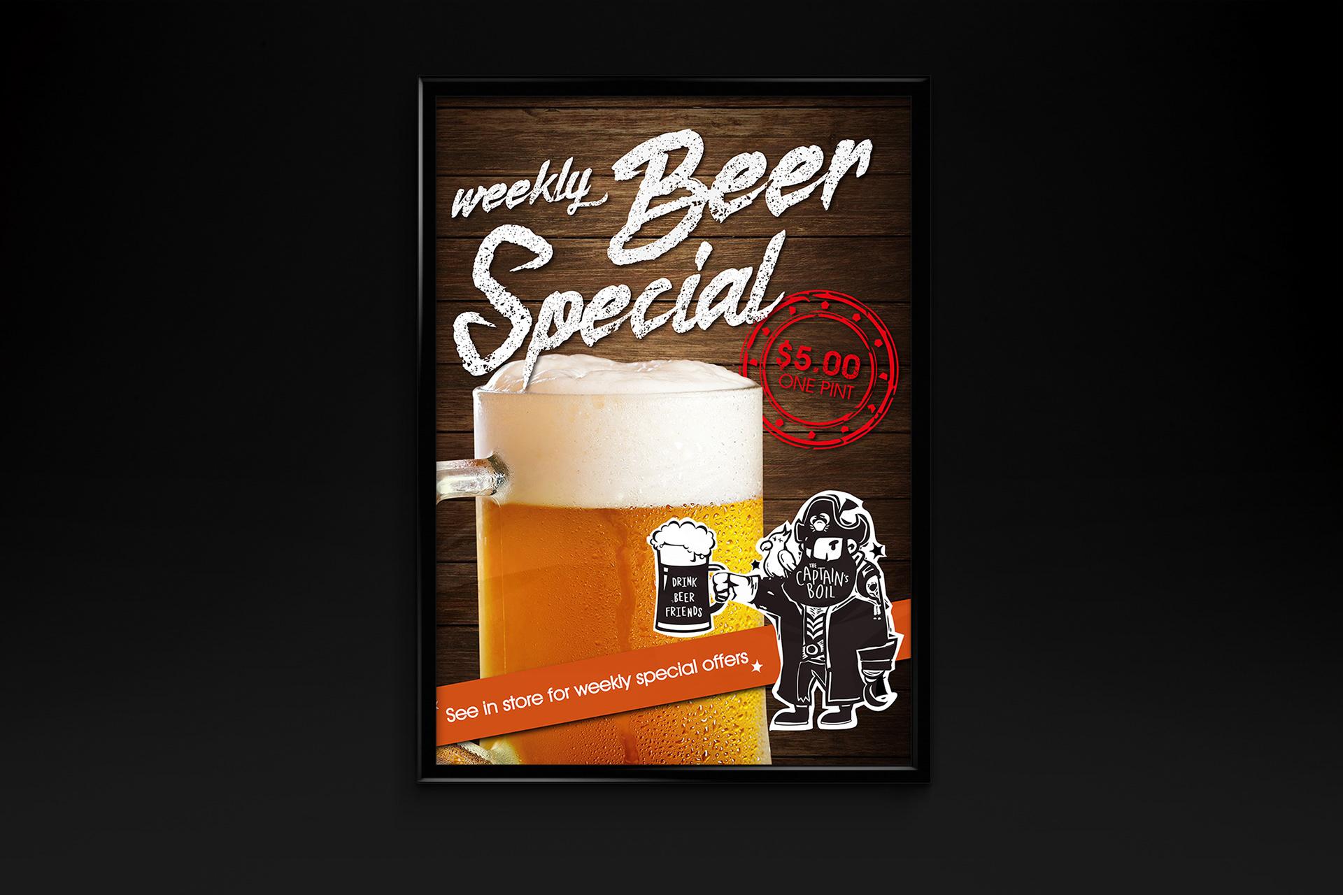 Beer Special Promotion Poster Design For The Captains Boil Restaurant