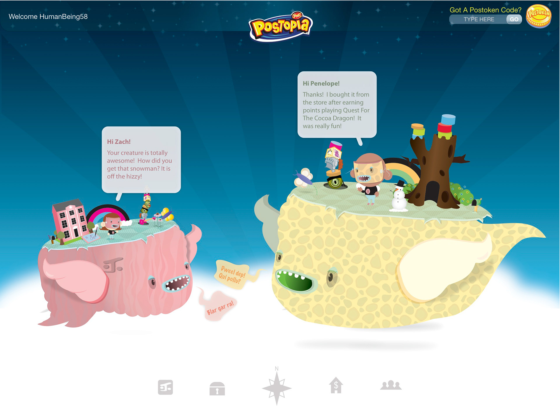 Here Is A Close Up Of An Exchange Between User Creatures Note That They Have Collected Various Trophies And Decorations From Their Activities On The Site