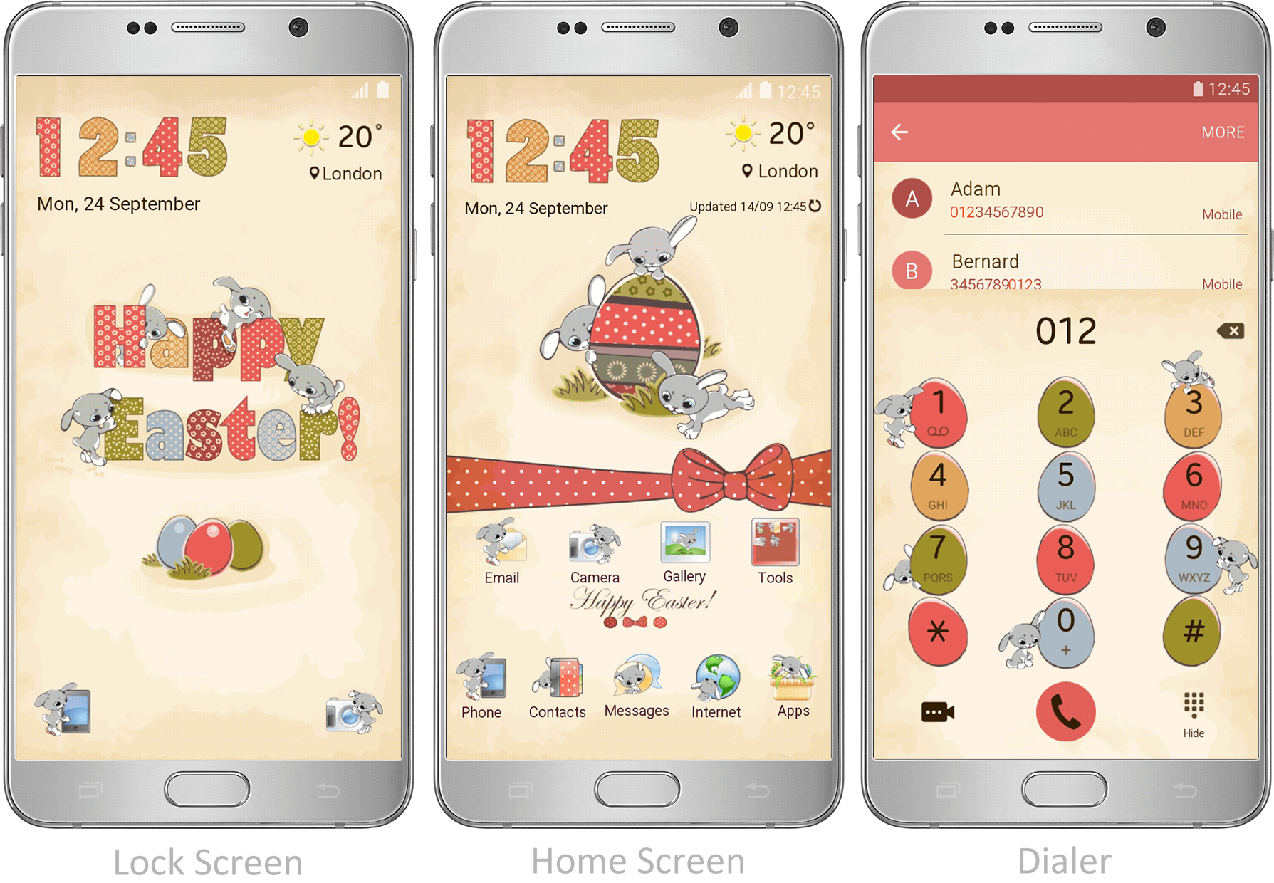 your decorate custom these features with bunny egg and easterbunnies screen this easter an dial rw echo decor theme animated cute phone lock icons visuals pad bunnies