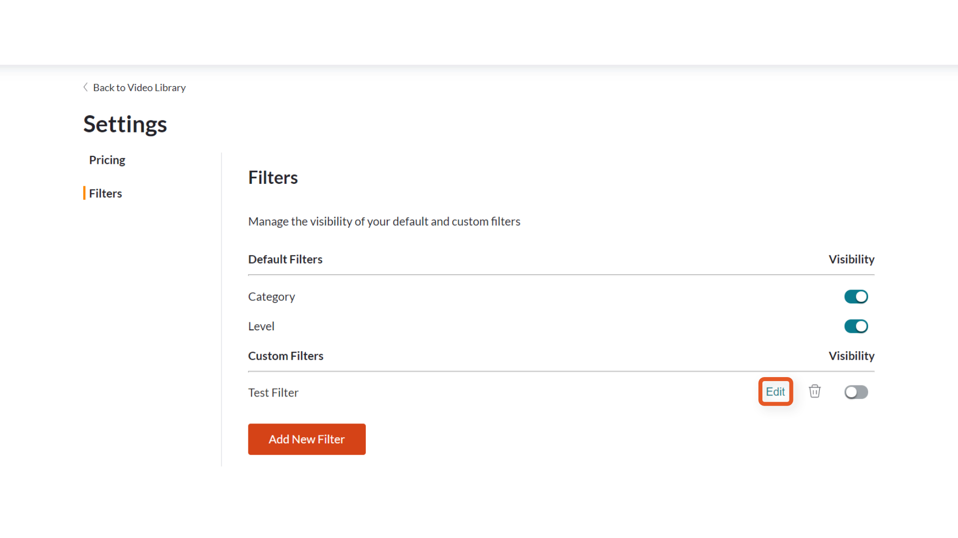 Deleting custom filters