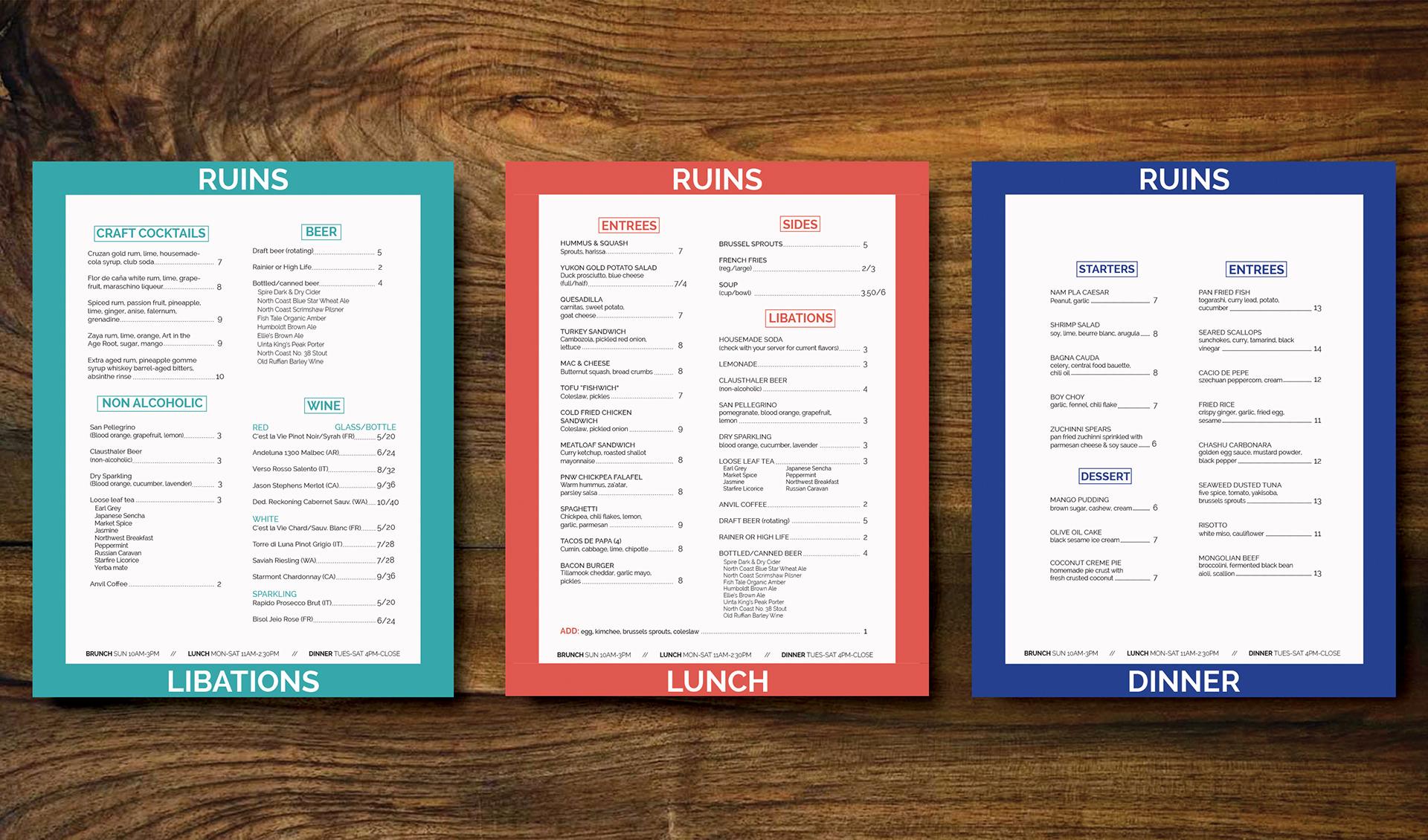 amanda mccormack restaurant menu design ruins