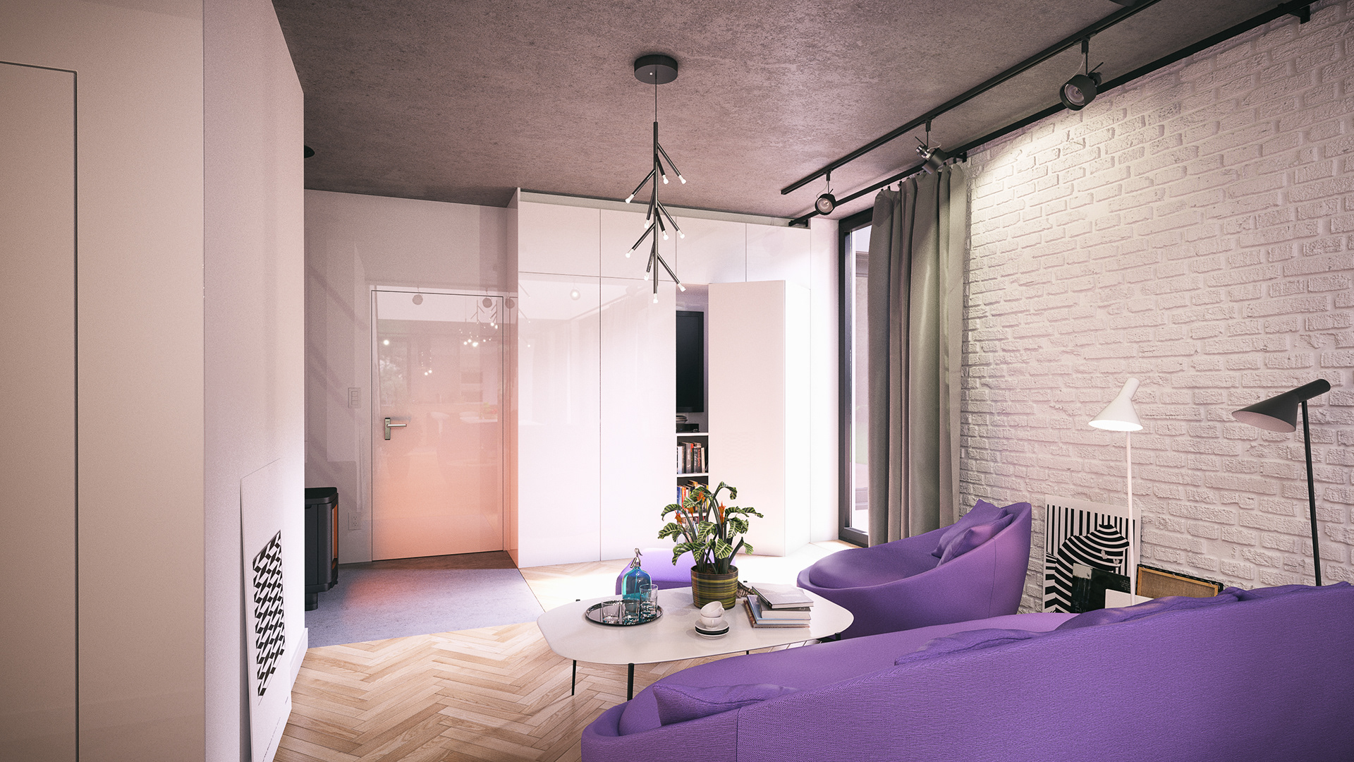 commercial project premium house interior design indea modeled 3dsmax 2015 textured 3dsmax 2015 rendered vray 32003 postproduction ps cc - Purple House Interior