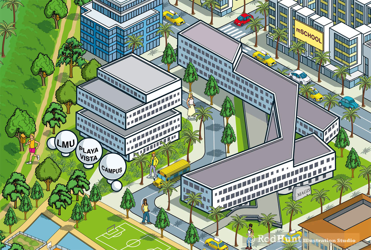 Loyola Law School Campus Map.Rod Hunt Illustration And Illustrated Maps Map Illustrator