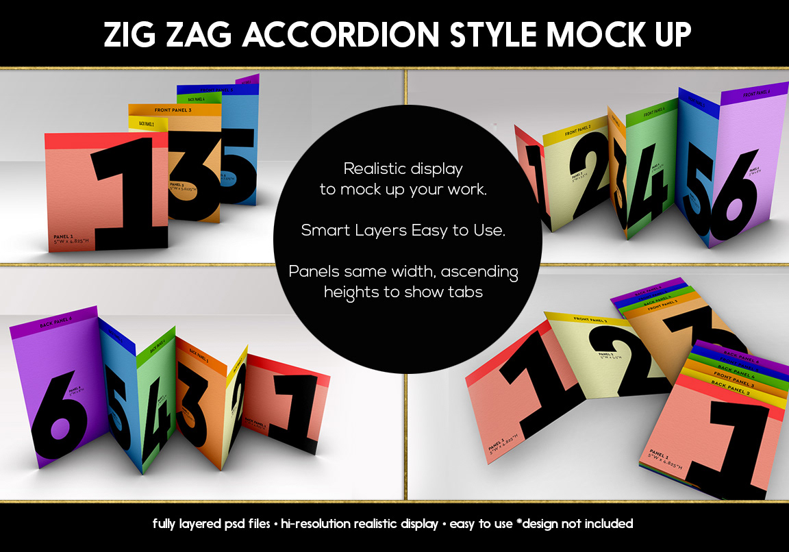 in c design studio mock up template zigzag tabbed accordion brochure