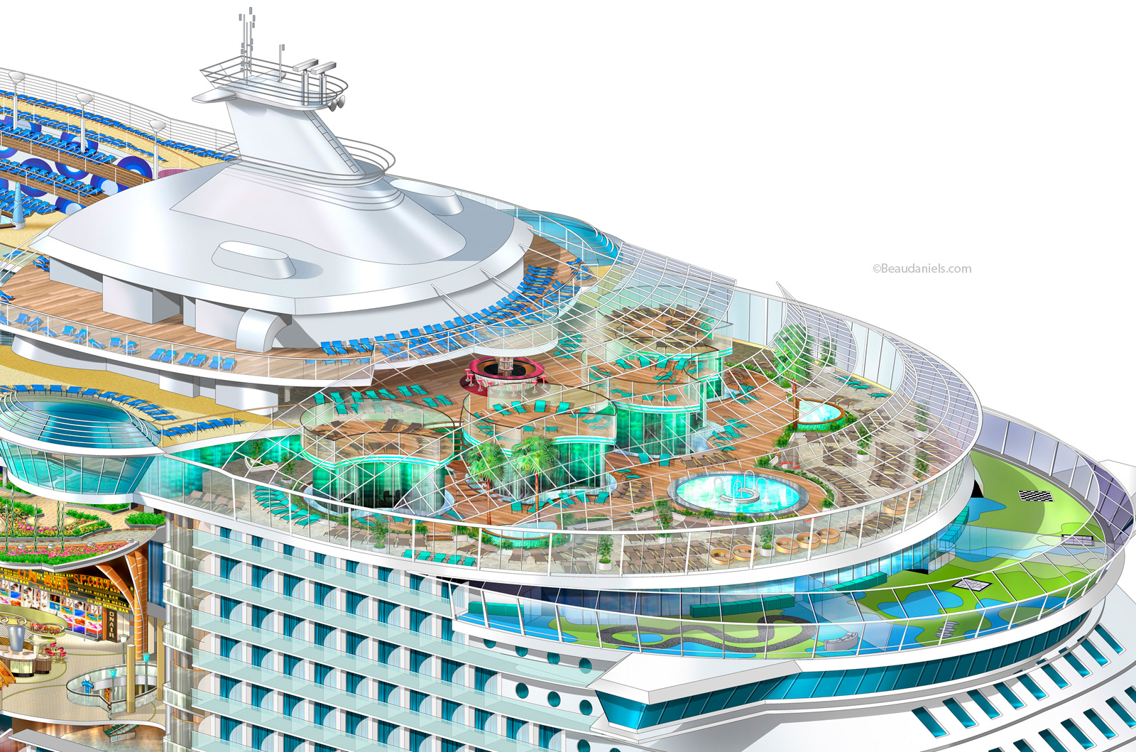 Royal Caribbean Cruise Line Cutaway To Show Solarium Rendered In Adobe Photoshop