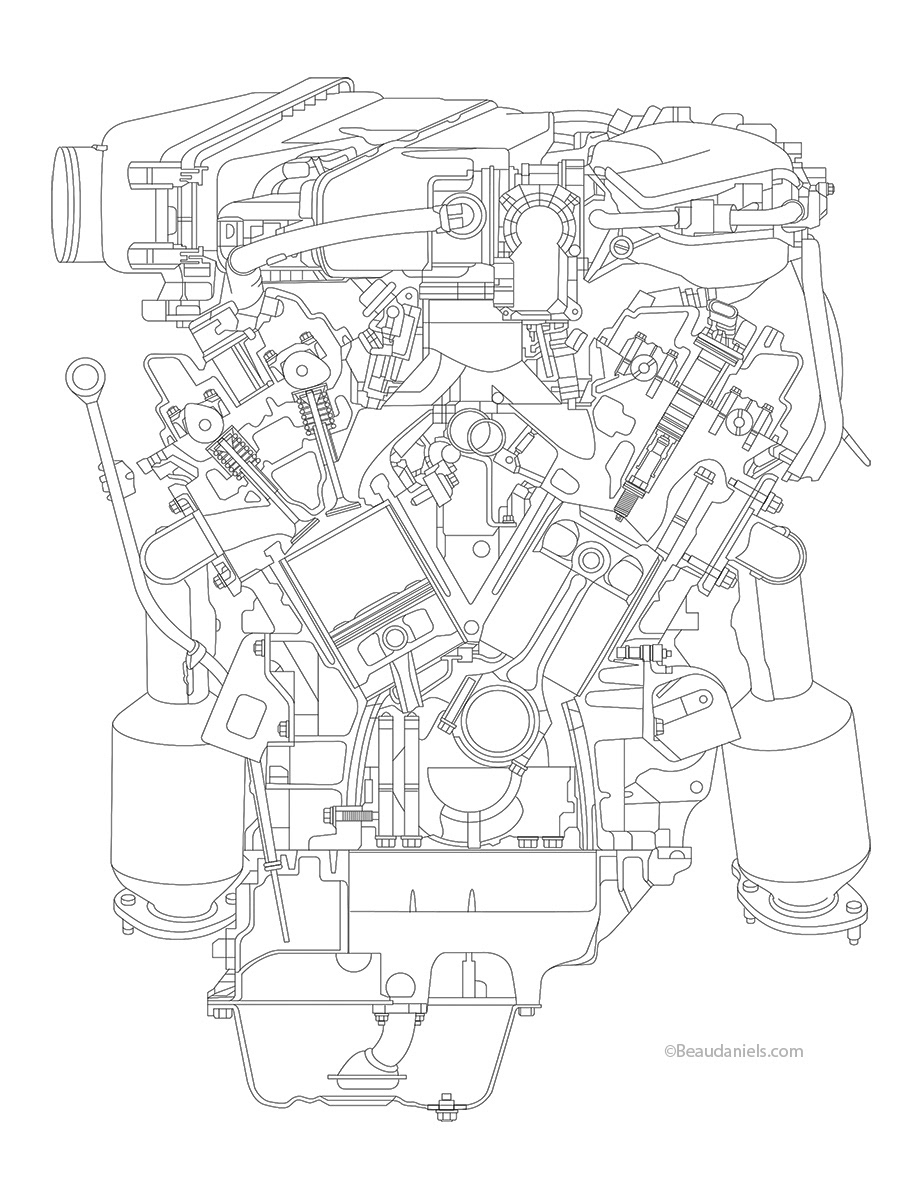 Technical Illustration Beau And Alan Daniels Toyota Tacoma Engine Diagram Line Art Fot The